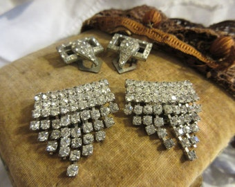 2 pairs rhinestone shoe clips, 30's and 50's vintage, dress up, bling, classy, front or back of shoe, deco design, fun, funky, fabulous