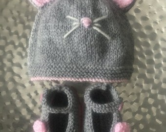 Hand knitted baby Mouse hat & Mary Jane shoes booties set in pink/grey - baby shower gift