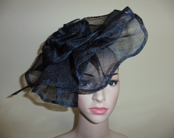 Black Fascinator.Ascot Race Hat.Wedding Hat.Occasion Hat. Black Hat