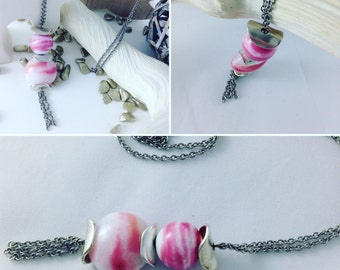 Necklace chain steel cups steel beads lens and round glass spun pink opal and white hand