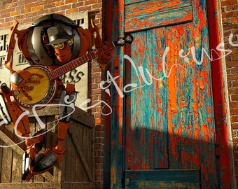 Even Robots Get Bluegrass - Original Artwork, Robot, Banjo, Humorous, Whimsical, Surreal, Digital Download Art, Printable Art, Home Decor