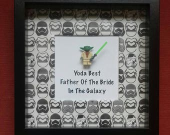 Wedding father of the bride Star wars minifigure thank you gift Yoda Best father of the bride in the galaxy present for a Star Wars dad