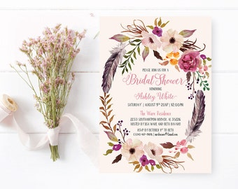 Printable Bridal Shower Invitation, Romantic Watercolor Floral, Bohemian Floral Style, Hens Party, Printable Invitations - US_BIa4