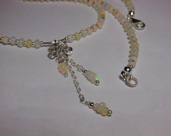 White Natural Opal Beaded Necklace with Flower Pendant 925 Sterling Silver
