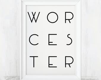 Worcester Poster, Worcester Massachusetts, Worcester Gift, Worcester Decor, Worcester Art, Worcester Prints, Worcester Art Print, Worcester