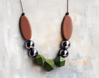 Chunky Geometric Necklace, Boho necklace, Statement Necklace, Bohemian Jewelry, Handmade necklace, Wooden Necklace, Green Brown