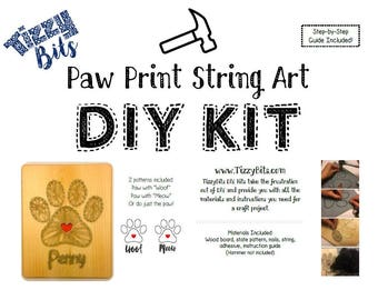 DIY Paw Print String Art Kit for Dog Cat / Pick any name or Woof  Meow / Home Decor / Animal Lover / Pet Memorial ideas / String Art Pattern