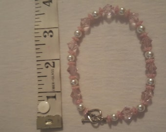 """9"""" Pink and white bracelet"""