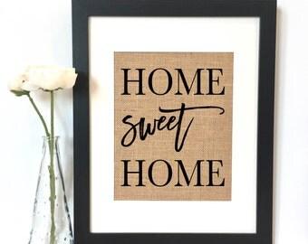 Home Sweet Home Burlap Print // Wedding Gift // Housewarming Gift // Wedding