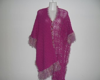 Vintage Unique Handmade Pink Crochet Poncho with Tassels Buttons Front Free Size from 90s,Knitted and Crochened Poncho Cape