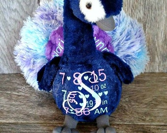Personalized Keepsake Animal/ Birth Announcement/ Personalized Peacock / Peacock Plush/ Baby Shower/ Nursery Decoration