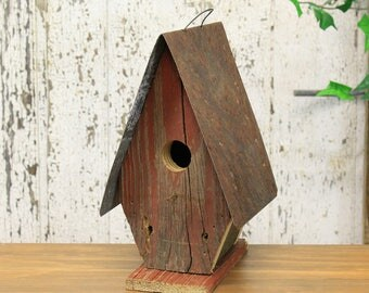 Red Painted Wooden Birdhouse - Tall Rustic Design