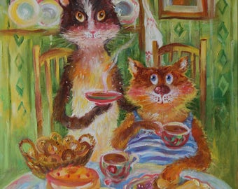 Original oil painting/funny animals/2 cats at the table/personalized cat portraits/humor/couple at the table