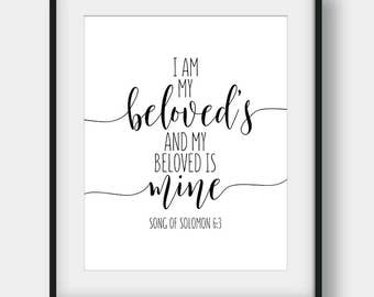 60% OFF I Am My Beloved's And My Beloved Is Mine, Song Of Solomon 6:3, Bible Verse Print, Wedding Decor, Anniversary Gift, Song Of Songs