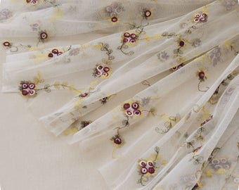 """51"""" Width Exquisite Rose Flower Embroidered Mesh Lace Fabric by the Yard"""