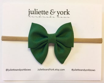 Green Mini Sailor Bow {Nylon Headband or Alligator Clip} baby bows, baby bow headband, bow clips, nylon headband