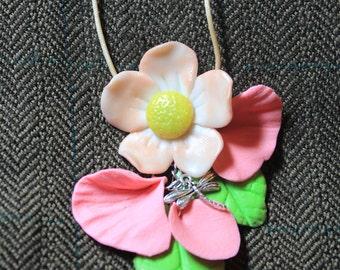 SALE Apple Plum Sakura Flower Pendant from Polymer Clay Gift for Her Birthday