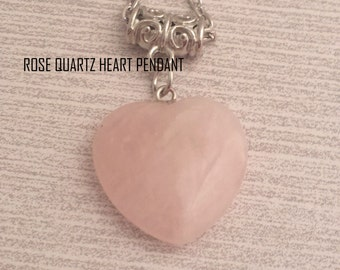 Romantic Rose Quartz Heart Shape Pendant/Necklace
