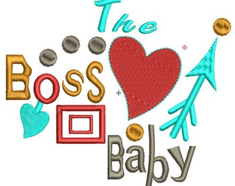"the boss baby embroidery design, size 5x4.30"", red heart embroidery design"