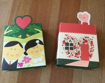 Cute Wedding Favour Boxes, Cartoon, Modern Asian-styled, Chinese Wedding , 9 x 8.2 x 5cm (20 boxes)