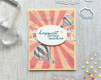 Happy Birthday Card. Happiest Birthday Wishes. Hot Air Balloons. Whimsical Birthday Card. Sunburst and dots. Carnival themed. Stampin Up
