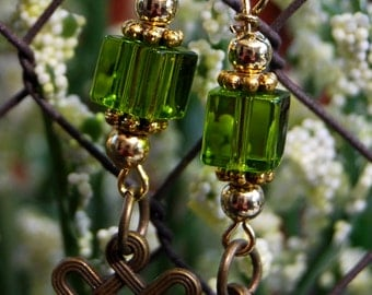 Green acrylic with celtic charm earrings