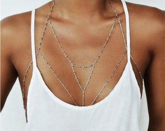 Body chain jewelry summer boho ethno silver chain