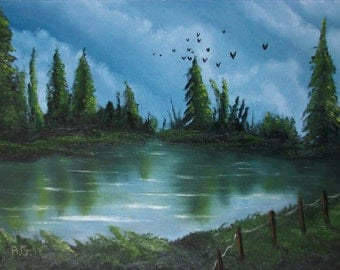 Summer Lake table oil painting