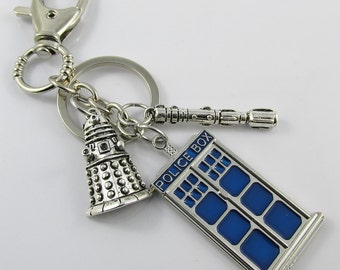 Dr Who Inspired Dalek Sonic Screwdriver Tardis Charm Keychain Swivel 134mm