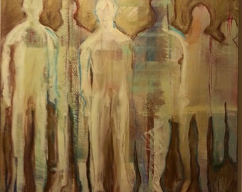 Abstract Original Painting Figurative Contemporary Modern Art - Spectators