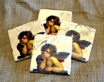 Cherub/Angel Natural Stone Coaster