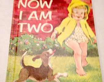 Vintage childs book/Now I Am Two/1963/childs room decor/vintage illustrations