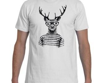 Hipster Deer Black White TShirt Men