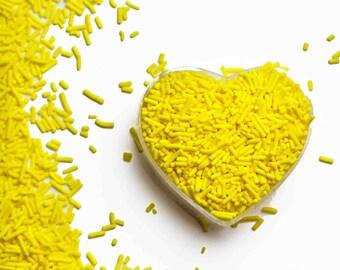 Yellow Crunchy Jimmies™, crunchy sprinkles, skinny sprinkles, sugar strands, Fancy Sprinkles, yellow sprinkles, yellow jimmies