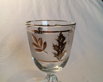 Mid Century Libbey Gold Leaf goblet, wine glass, ball stem glass