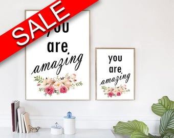 Wall Art You Are Amazing Digital Print You Are Amazing Poster Art You Are Amazing Wall Art Print You Are Amazing Typography Art You Are