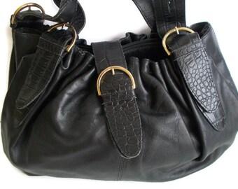 Vintage Leather Bag Leather Shoulder Bag Black, Leather Black bag Buckle bag Black handbag Vintage leather black shoulder bag
