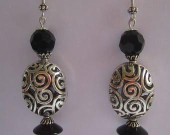 Art Deco Klimt Inspired Silver Beads, Vintage Onyx Abacus Beads, Black Faceted Czech Glass Beads 1970s, Bali Silver Ear Wires