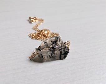 quartz necklace, quartz gold filled, Black rutilated quartz,Raw black rutilated quartz Necklace, raw crystals ,Gift for her, Natural product