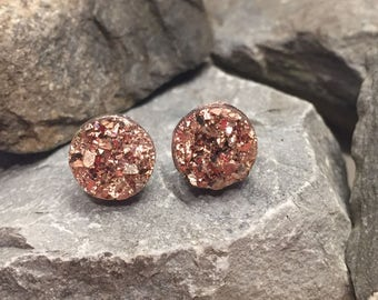 Druzy Earrings - Rose Gold - 10mm