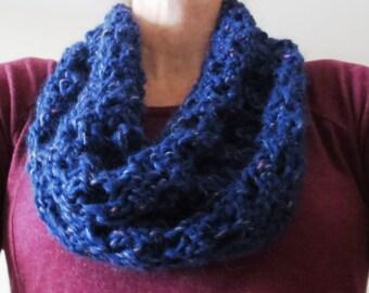 Beautiful Blue Hand-knit Hole-y Cowl/Scarf
