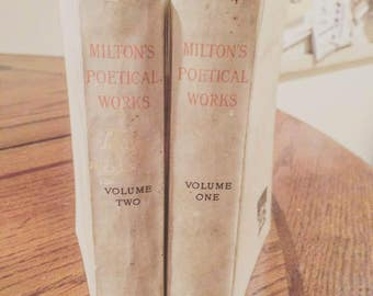 Vintage books 2 volumes, RARE edition unavailable anywhere else, The Poetical Works of John Milton including Paradise Lost & Regained, 1887