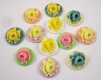 12pcs 18MM mixed 6 colors Rose Flat Base Resin Flower Jewelry Beads DIY Finding Accessory