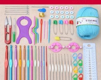 73Pcs Multicolour Metal Hook Needle Set Knitting Needle Set Crochet Full Set Needle Crocheted Sweater Tools DIY Crafts