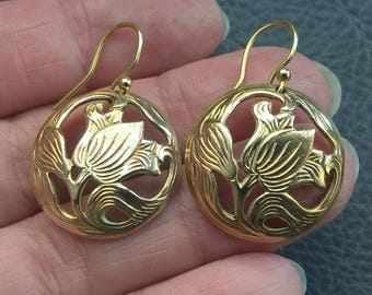 Antique 1900's Edwardian Brass Tulip Flower Dangle Earrings