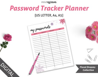Password Tracker, Password Keeper, A5 Password Tracker, Password Log, Password Organizer, Password Journal, A5 inserts, A4 A5 Letter