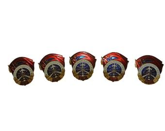 "Antique Original Set 5 Soviet Screw Badges Orders 1974 Aviation Air Traffic Control Catalogue 1,97""х1,57"""