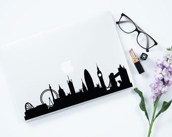 London Skyline Decal Laptop Decal For Macbook Air Pro London MacBook Cover Decal Removable Sticker Decal Laptop London Macbook Decal