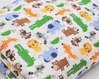 Children's Brushed Cotton Fabric Jungle Animals Lion Monkey Crocodile Elephant