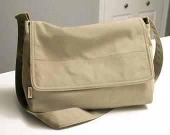 Tan Striped Messenger Style Handbag